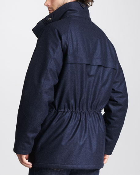 Check-Lined Drawstring Jacket
