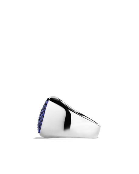 Pavé Signet Ring with Sapphires
