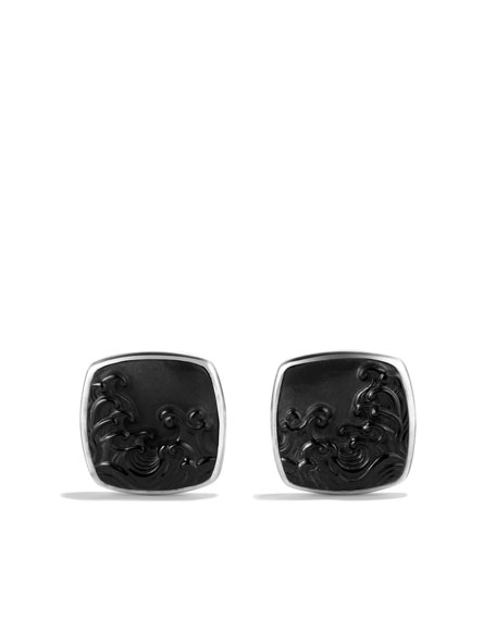 Waves Cuff Links with Black Onyx