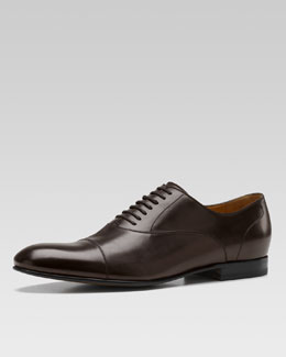 Gucci Lace-Up with Embossed Gucci Script Logo, Brown