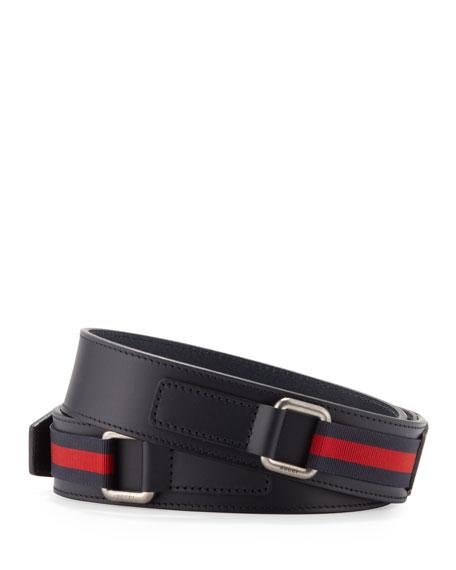 Stirrup-Buckle Leather Belt, Navy