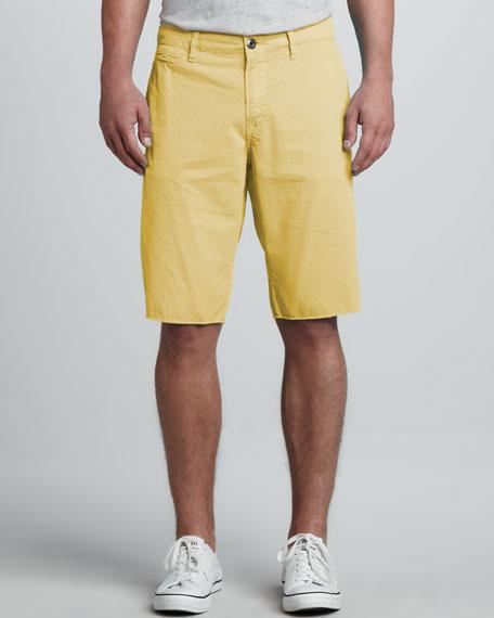 St. Bart's Raw-Edge Shorts, Custard Yellow