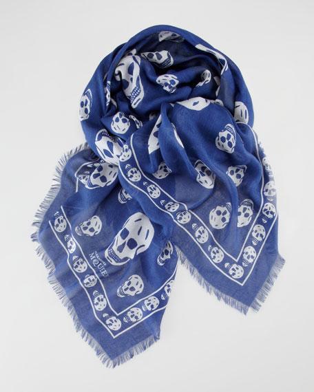 Skull-Print Scarf, Blue/White
