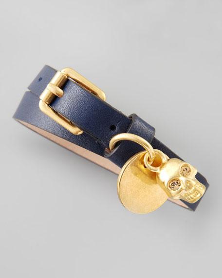 Double-Wrap Bracelet with Skull Charm