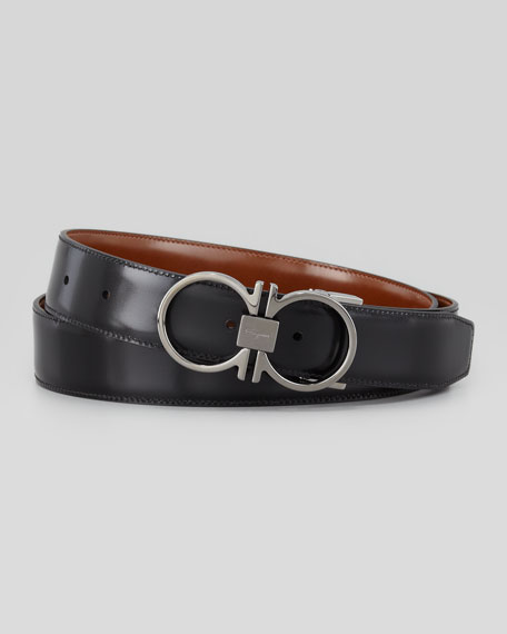 salvatore ferragamo reversible gancini leather belt brown
