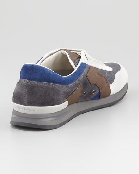 Truman Leather & Fabric Sneaker, Gray/Blue