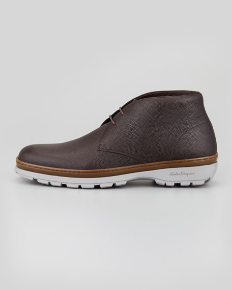 Pebbled Leather Chukka Boot, Brown