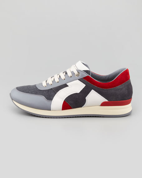 Truman Leather & Fabric Sneaker, Gray/Red