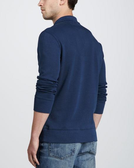 Half-Zip Cotton Pullover, Pale Indigo