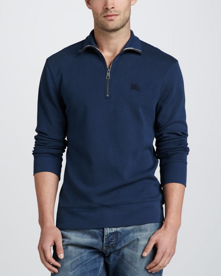 Half-Zip Cotton Pullover, Pale Indigo