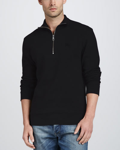 Half-Zip Cotton Pullover, Black