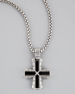 Stephen Webster Silver & Onyx Cross Pendant Necklace