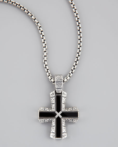 Silver & Onyx Cross Pendant Necklace