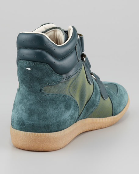 Three-Strap High-Top Sneaker, Green