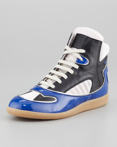 Maison Martin Margiela Patent Leather Trimmed High Top Sneaker, Multi