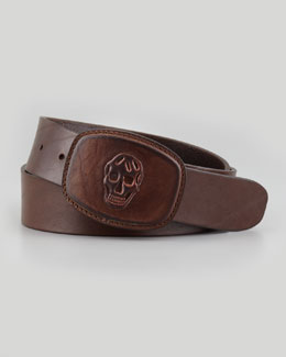 Alexander McQueen Skull-Embossed Leather Belt, Tan