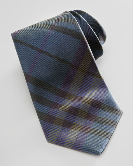 Tonal Check Silk Tie, Green/Blue