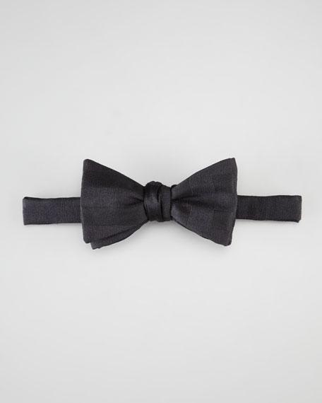 Pre-Tied Tonal-Stripe Bow Tie, Black