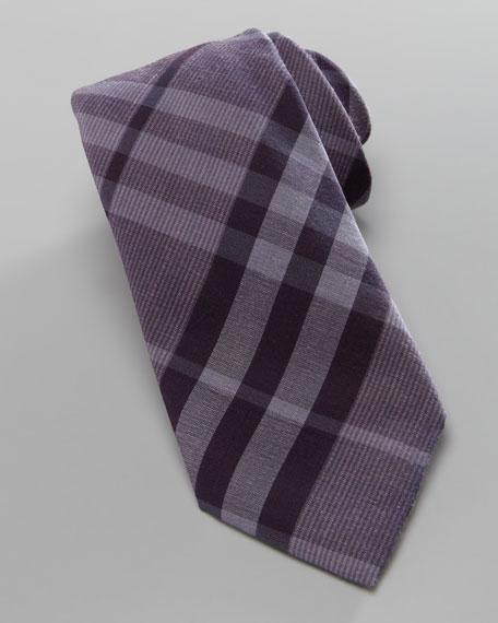Tonal Check Skinny Tie, Dusty Pink
