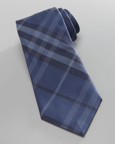 Check Silk Tie, Blue