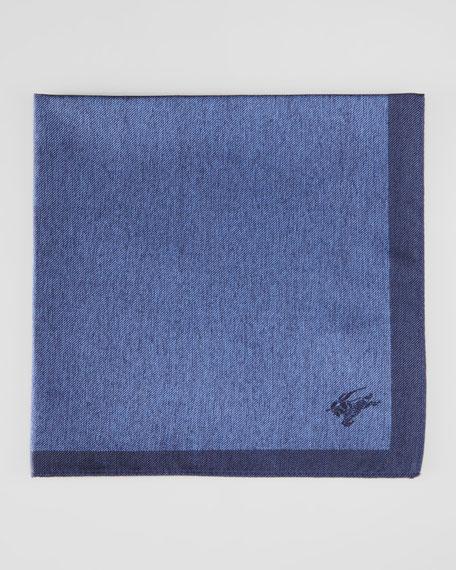 Contrast-Border Silk Pocket Square, Navy Blue