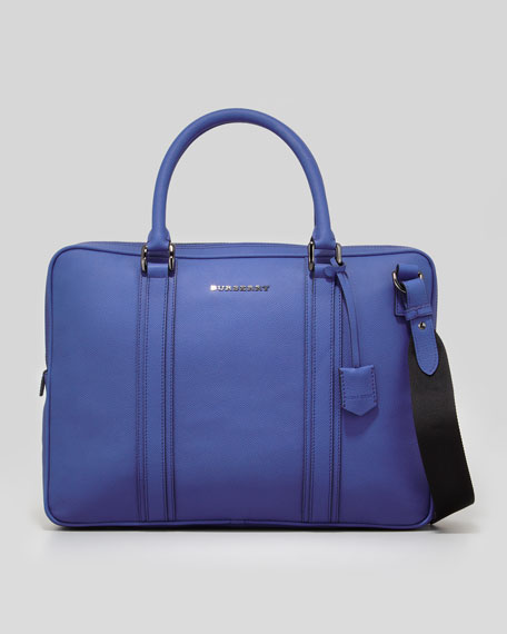Leather Zip Briefcase with Shoulder Strap, Blue