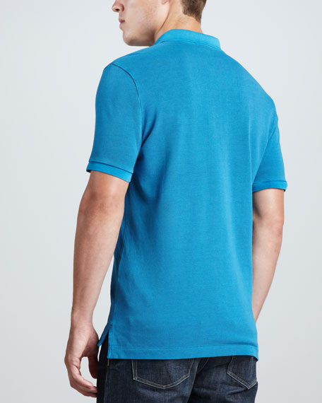 Short-Sleeve Equestrian Knight Polo, Deep Turquoise