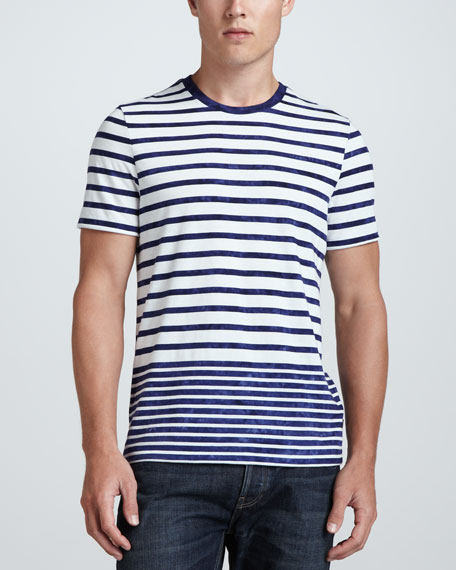 Short-Sleeve Striped Tee, Navy/White