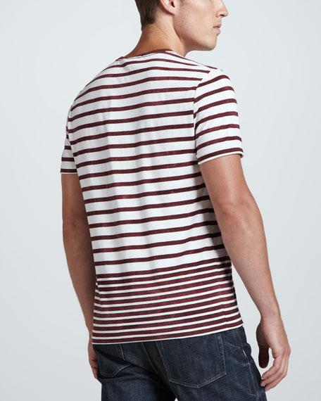 Short-Sleeve Striped Tee, Rust/White