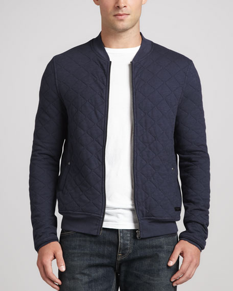 Burberry Brit Quilted Jersey Bomber Jacket, Blue