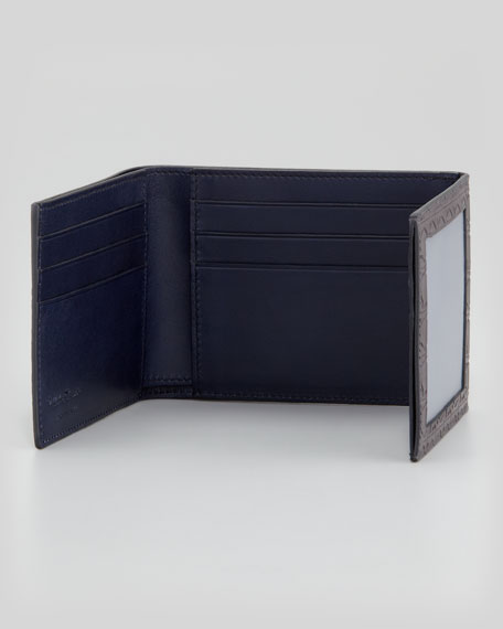 Gamma Gancini-Embossed Tri-Fold Wallet, Dark Gray