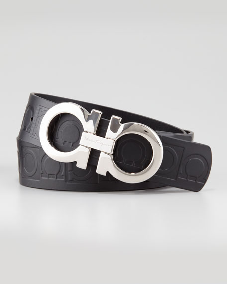 Giant-Embossed Double-Gancini Belt, Black