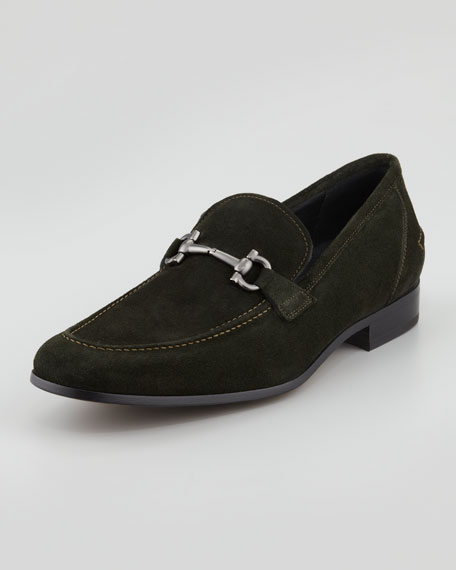 Tappas Suede Bit Loafer, Green