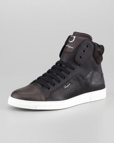Salvatore Ferragamo Stephen Two-Tone Hi-Top Sneaker, Black/Brown