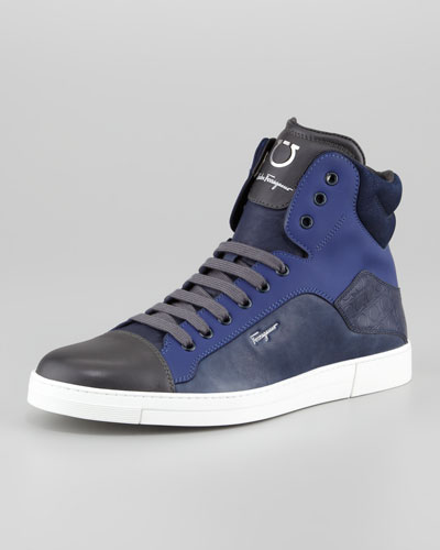 Salvatore Ferragamo Stephen Hi-Top Sneaker, Navy Multi