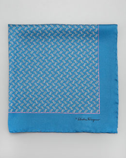 Salvatore Ferragamo Gancini-Print Silk Pocket Square, Blue