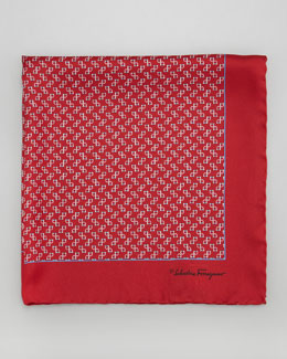 Salvatore Ferragamo Gancini-Print Silk Pocket Square, Red