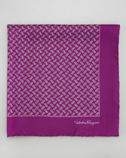 Salvatore Ferragamo Gancini-Print Silk Pocket Square, Purple