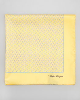 Salvatore Ferragamo Gancini-Print Silk Pocket Square, Yellow