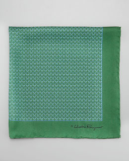 Salvatore Ferragamo Gancini Links Silk Pocket Square, Green