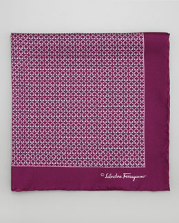 Salvatore Ferragamo Gancini Links Silk Pocket Square, Purple