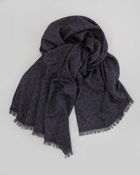 Gancini-Print Wool-Blend Scarf, Dark Gray