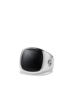 David Yurman Exotic Stone Signet Ring with Black Onyx