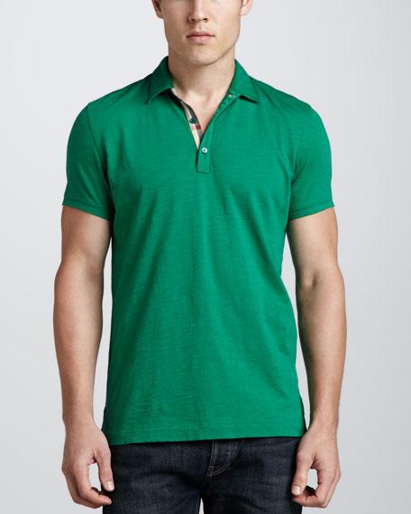 Short-Sleeve Slub Polo, Green