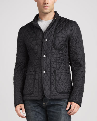 Quilted Sport Jacket, Black