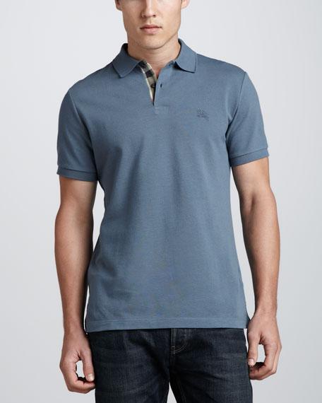 Pique Short-Sleeve Polo, Dusty Thistle Blue