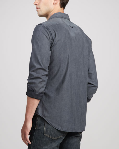 Chambray Button-Down Shirt, Washed Indigo