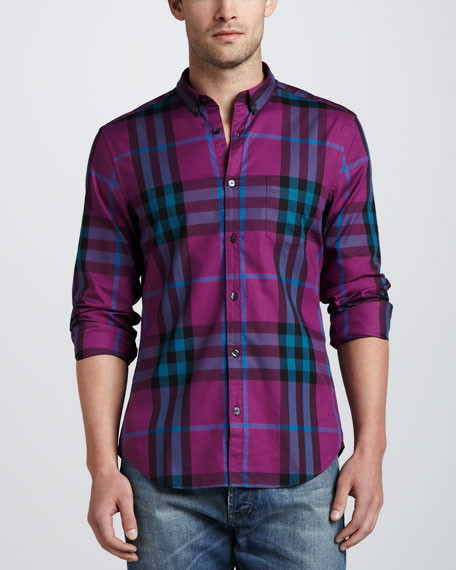 Check Button-Down Shirt, Damson Magenta