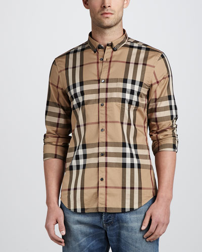 Niall Check Button-Down Shirt, Camel