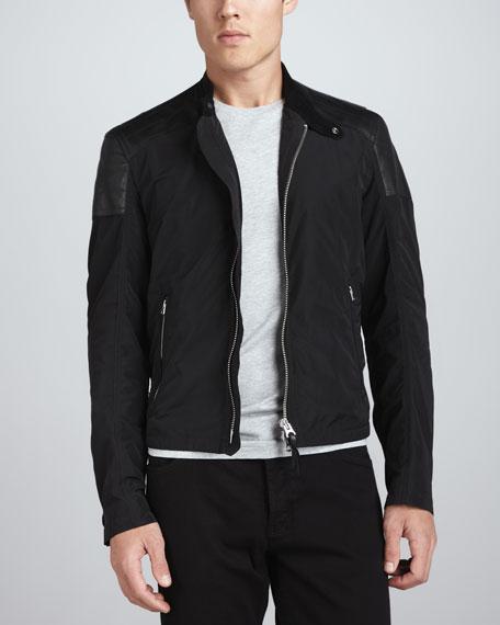 Leather-Trimmed Nylon Bomber Jacket, Black